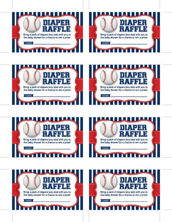 Instant Download Baseball Diaper Raffle Cards Printable Blue