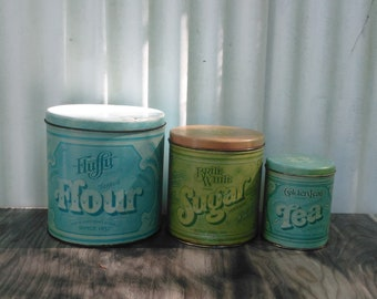 3 pc Canister Set - Sugar Canister - Flour Canister - Tea Canister- Vintage Canisters - Kitchen Storage - Farmhouse - Cabin Decor