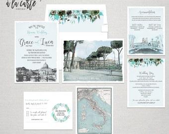 Rome Italy Destination Wedding Invitation Rome Roma Italian illustrated wedding invitation in Blue and Grey Colosseum - Deposit Payment