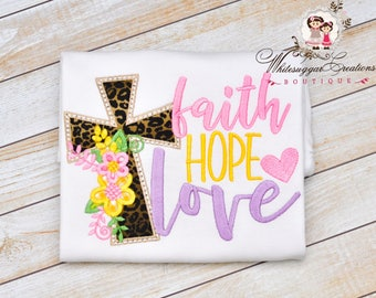 Baby Girl Easter Shirt, Faith, Hope, Love Outfit - Easter Cross Shirt for Girls - Easter Outfit, Applique, Baby Girl Outfit, Easter Bodysuit