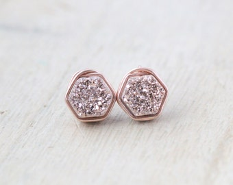 Rose Gold Druzy Studs , Bezel Wrapped Post Earrings , 14k Rose Gold Filled  Hexagon Minimalist Fashion, Gifts For Her