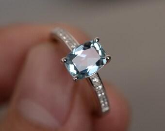 Natural Aquamarine Ring Sterling Silver Gemstone Ring Engagement Ring Birthstone Ring Birthday Gift