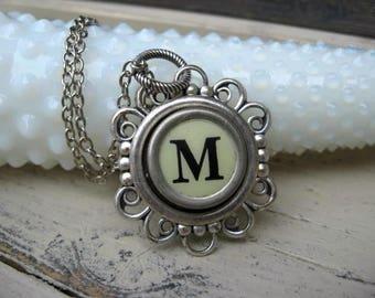 Antique Typewriter Key Necklace Initial M