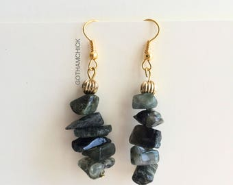 Gold and Green Chip Stack Earrings