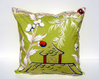 Pillement Grande by Bob Collins & Sons in LIME This Listing is for One Pillow Cover- FRONT - BACK