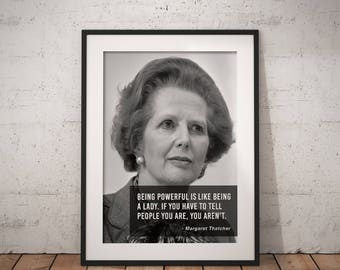 Margaret Thatcher, Quote poster, Typographic print, Inpirational Genius Quote, Sizes A4-A0