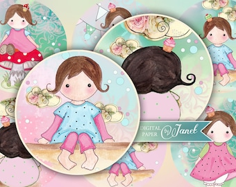 Dreams of Matilda - 2.5 inch - circles - set of 12 - digital collage sheet - pocket mirrors, tags, scrapbooking, cupcake toppers