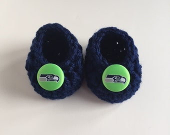 Seahawks baby booties, baby booties, infant shoes, crochet baby booties, booties for baby, crochet baby shoes