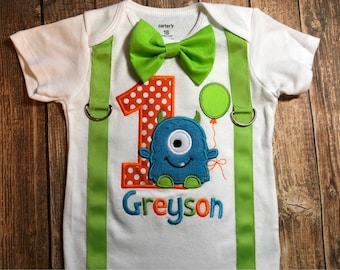 Custom boys first birthday little monster bodysuit or shirt with suspenders and bow tie, boys monster birthday, monster first, little monste