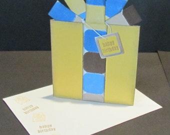 Birthday Present Card - Gift Card / Money Holder - Honey