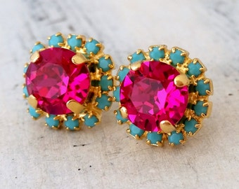 Pink earrings,Pink and turquoise earrings,Hot pink earrings,Fuchsia earrings,Bridesmaids jewelry,Hot pink stud earrings, Bridesmaid earrings