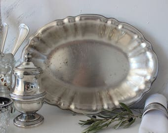 Antique French serving dish,silver plated, oval dish