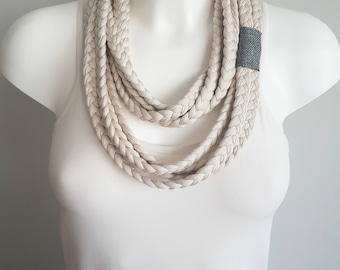 T-shirt scarf, beige scarf, beige necklace, t-shirt necklace, braided scarf, fabric scarf, fabric necklace