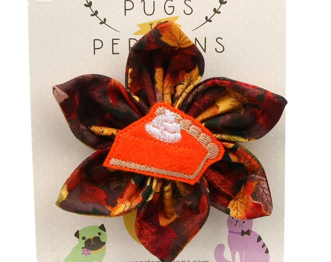 Thanksgiving Dog Bow - Slice of Pumpkin Pie on Autumn Leaves - Flower - Collar Blossom - Large Size