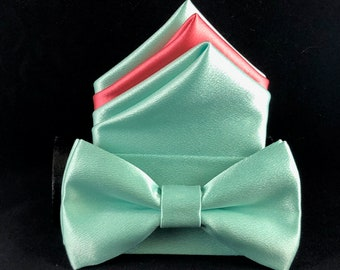 Pistachio and coral hand made bow-tie and pocket square