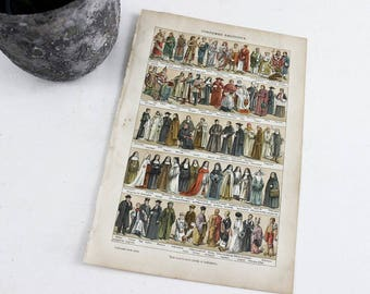Costumes religieux Lithographie Vintage, Art mural historique, Dictionnaire Français imprimer Art, impression d'Art Illustration Vintage Costume historique