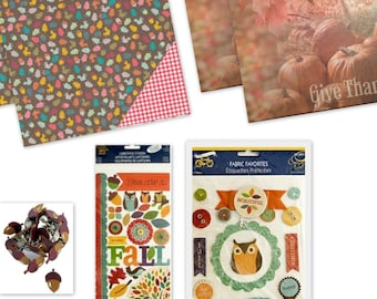 Fall Kit 1 Scrapbook Card / Scrapbook Paper / Stickers / Brads
