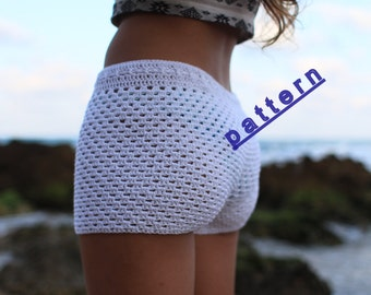 Crochet  shorts pattern Lace crochet short  PDF Tutorial Pattern white crochet shorts  pattern Beach wear  Summer short pattern