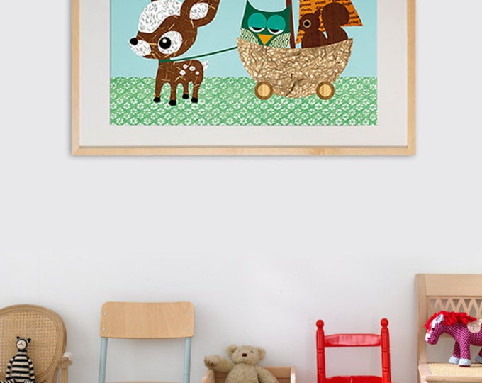 NEW A3 Size: Little wagon collage poster print for boys room