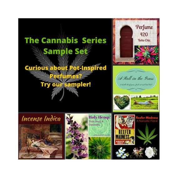 Cannabis Perfume Samples Marijuana Perfume Hemp Perfume Pot Perfume Reefer Madness Holy Hemp Incense Indica A Roll in the Grass 420 Scents