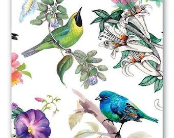 TWO (2) Luncheon Napkins for Decoupage and Paper Crafts, Bird Song