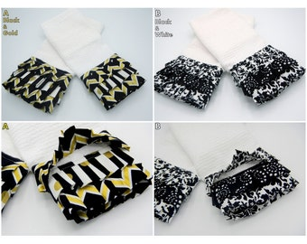 Ruffled Kitchen Towels, Kitchen Linens, Towel Decor, Decorative Towels, Black and White Kitchen Towels, Black and Gold Towels, SOLD IN PAIRS
