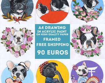 Custom Dog Portrait / Acrylic Drawing / Framed