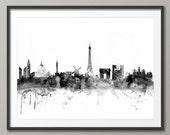 Paris Skyline, Paris France Cityscape Art Print (1429)