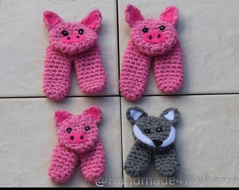 finger puppets, crochet toys, crochet finger puppets, puppets, sensory play, toy, game, animal puppets, 3 little pigs, childrens activity,