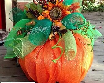 Deco Mesh Pumpkin, Fall Centerpiece, Fall Front Porch Decoration, Fall Table Centerpiece, Fall Decoration