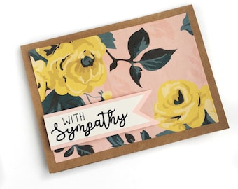"Handmade Sympathy Card - ""With Sympathy"" - Floral - 3D - Cardstock"