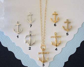 Anchor Necklace, Navy Wife, Gold Anchor, BFF, Charm Silver, Small Anchor, Silver Anchor, Small Charm, Layered Charm, Sea Charm