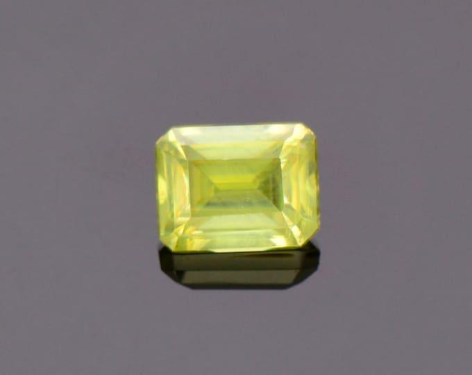 Lovely Yellow Green Sphene Titanite Gemstone from Zimbabwe, 1.29 cts., 6.6 x 5.2 mm., Emerald Shape