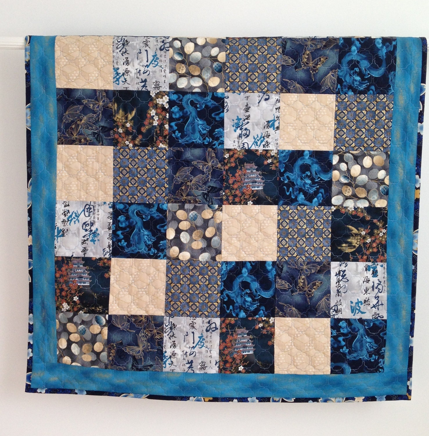 Baby Boy Quilt Featuring Asian Fabrics Royal Blue Dragons