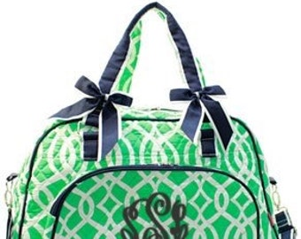 Vine quilted duffle bag with detachable bows with FREE Monogram/Name - Travel bag, weekender bag, overnight bag, Tote Bag, Carry on bag,