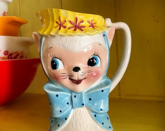 Royal Sealy Cat/Royal Sealy Lamb/Vintage Pitcher/Royal Sealy Pitcher/Kitschy/Anthropomorphic Cat Kitten Pitcher