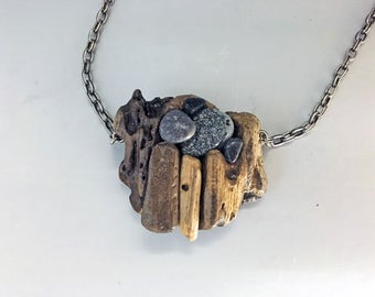 Sculptural Jewelry, Wearable Art, Great Lakes, Necklace:  Made from Lake Ontario Driftwood and Beach Stone, 'Dockside' by Deborah Smith
