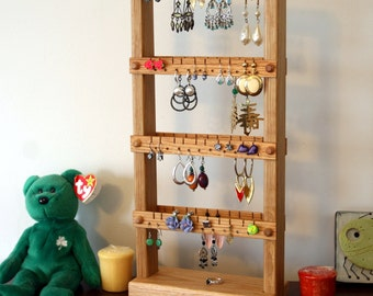 Earring Holder Stand - Jewelry Organizer, Oak, Wood, Double-Sided. Holds 80 pairs. Jewelry Display - Earring Display