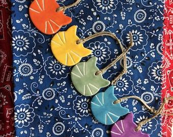 Rainbow Cat Ornaments. Set of 7