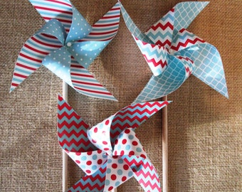 Paper Pinwheels Circus Favors Dr. Seuss Favors Red and Aqua Blue Party Favors Birthday Party Favors Baby Shower Favors Pinwheel Favors