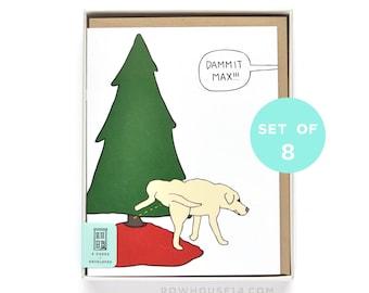 Funny Christmas Card Set - Dog Christmas Card - Funny Holiday Card Set - Set of 8 Cards
