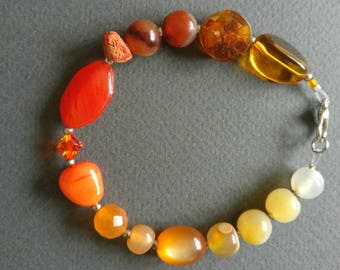 Amber. Gemstone, glass and crystal unique bracelet. Free shipping.