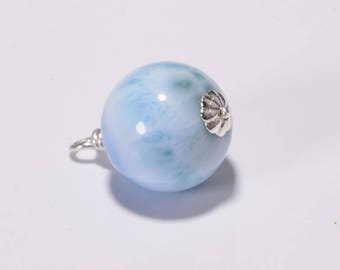 Larimar Pendant Turtleback Stone Sterling Silver Wire Wrapped, Aqua Blue Stone, Handmade Jewelry Dangle Drop Stone