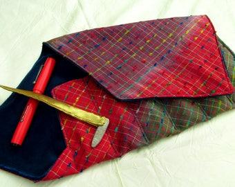 Indian Cotton and Velvet Six-Pen Wrap, Pen Roll, Pen Case