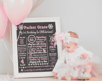 Pink Onederland Birthday Chalkboard Sign - Snowflake Chalkboard Sign - Milestone Sign - Printable Stats Sign - 1st Birthday Custom Board