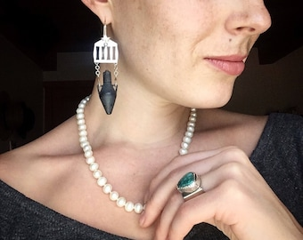 Roman Temple and Amphora Earrings | Copper and Sterling Silver