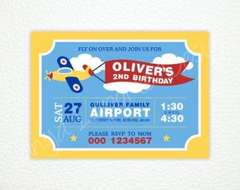 "Airplane Digital Invitation - Printable party invitation - 5""x7"""