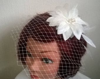 mesh clip on veil white flower bridal wedding hair accessory feather evening ceremony fascinator