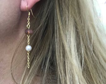Pink Czech and Freshwater Pearl Dangle Earrings