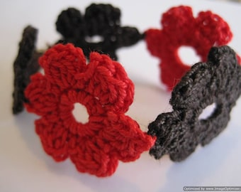 Red and Brown crocheted flowers bracelet